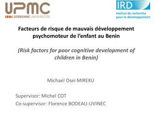 Michael  Osei  MIREKU Supervisor: Michel COT Co-supervisor: Florence BODEAU-LIVINEC