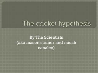 The cricket hypothesis