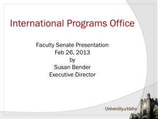 Units of International Programs Office (IPO)