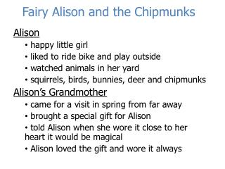 Fairy Alison and the Chipmunks