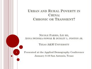 Presented at the Applied Demography Conference  January 8-10 San Antonio, Texas