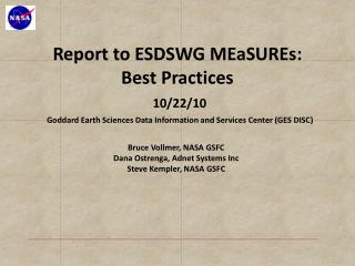 Report to ESDSWG  MEaSUREs :  Best  Practices 10/22/10