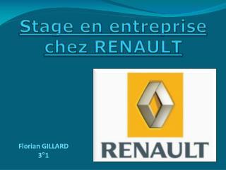 Stage en entreprise chez RENAULT
