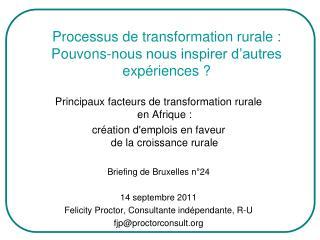 Processus de transformation rurale: Pouvons-nous nous inspirer d'autres expériences?