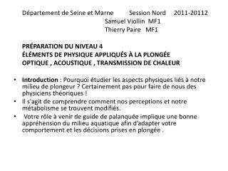 Département  de Seine et  Marne   Session Nord      2011-20112 Samuel  Viollin   MF1
