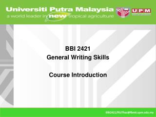 BBI 2421 General Writing Skills Course Introduction