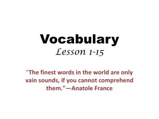 Vocabulary Lesson 1-15