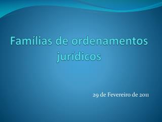 Famílias de ordenamentos jurídicos