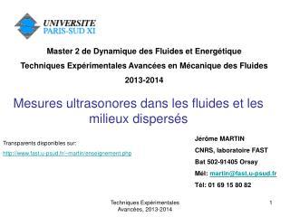 Mesures ultrasonores dans les fluides et les milieux dispersés