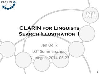 CLARIN for Linguists Search Illustration 1
