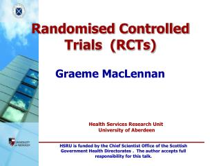 Randomised Controlled Trials  (RCTs)