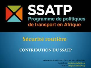 Réunion annuelle  du SSATP, 11-12  déc  2012 Addis Ababa  Justin  Runji jrunji@worldbank.org