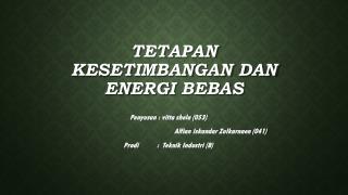 Tetapan kesetimbangan dan energi bebas