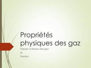 Propriétés physiques des gaz