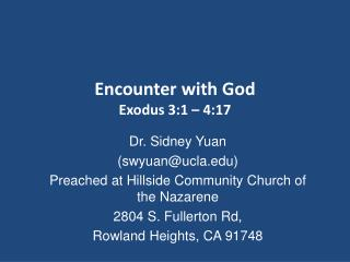 Encounter with God Exodus 3:1 – 4:17