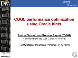 COOL performance optimization  using Oracle hints