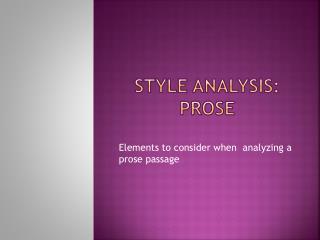 Style Analysis: Prose