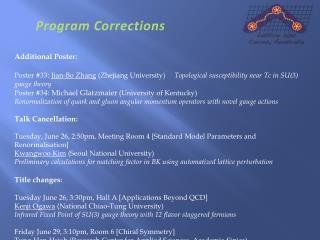 Program Corrections