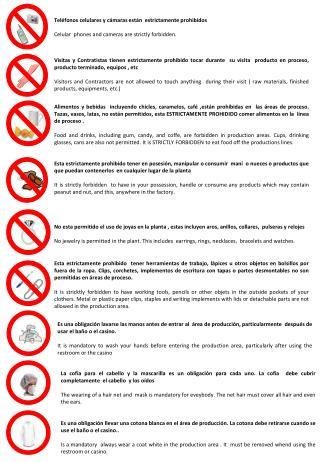 Teléfonos celulares y cámaras están  estrictamente prohibidos