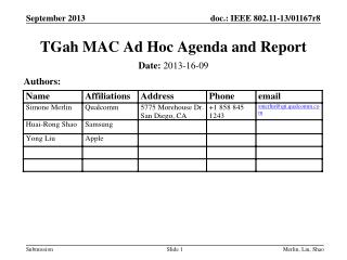 TGah  MAC Ad Hoc Agenda and Report