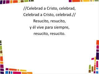 //Celebrad a  Cristo , celebrad, Celebrad a  Cristo , celebrad.// Resucito, resucito,