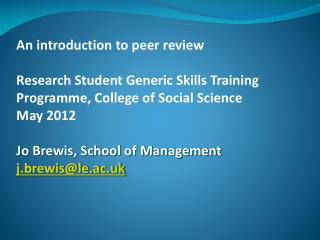 An introduction to peer review