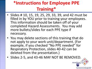 Instructions for Employee PPE Training
