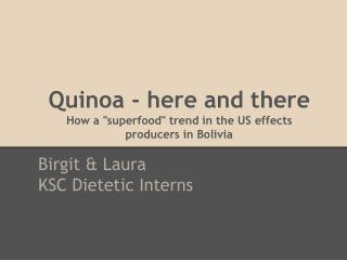 """Quinoa - here and there How a """"superfood"""" trend in the US effects  producers in Bolivia"""