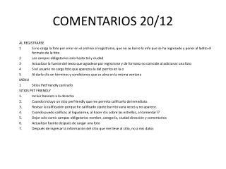 COMENTARIOS 20/12
