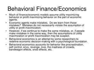 Behavioral Finance/Economics