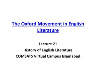 The Oxford Movement in English Literature