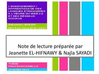 Note de lecture préparée par  Jeanette  EL-HIFNAWY &  Najla  SAYADI