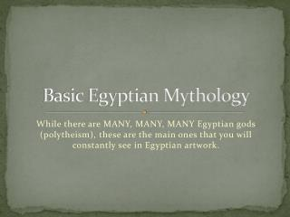 Basic Egyptian Mythology