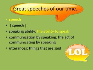 Great speeches of our time…