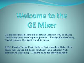 Welcome to the  GE Mixer