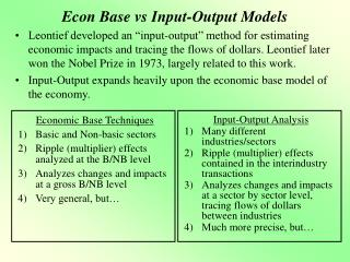 Econ Base vs Input-Output Models