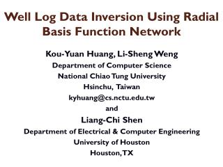 Well Log Data Inversion Using Radial Basis Function  Network