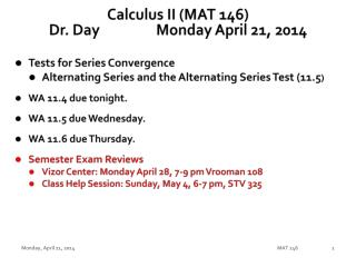 Calculus II (MAT 146) Dr. Day		Monday April 21, 2014