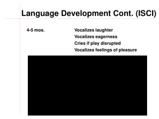 Language Development Cont. (ISCI)