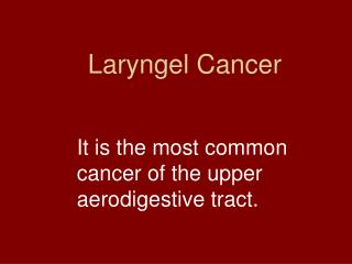 Laryngel Cancer