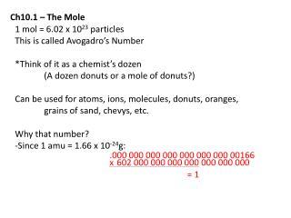 Ch10.1 – The Mole