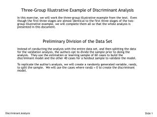 Three-Group Illustrative Example of Discriminant Analysis