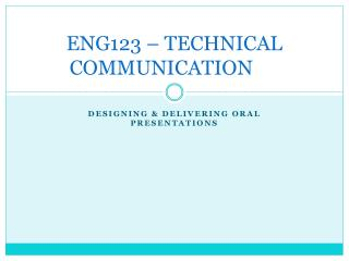 ENG123 – TECHNICAL COMMUNICATION