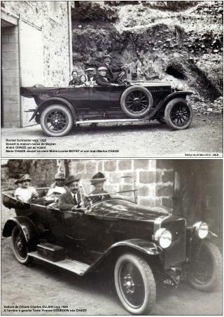 Rochet Schneider vers 1925 Devant la maison neuve de Bayzan André CHAIZE est au volant