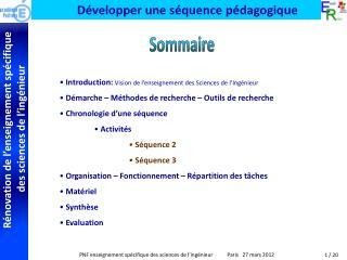 Introduction:  Vision de l'enseignement des Sciences de l'Ingénieur