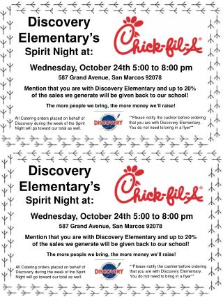 Discovery Elementary's Spirit Night  at: