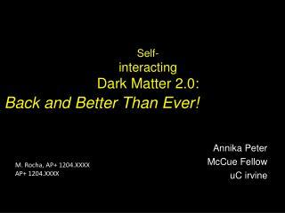 Self- interacting  Dark Matter 2.0: