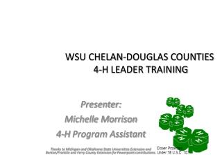 WSU CHELAN-DOUGLAS COUNTIES  4-H LEADER TRAINING