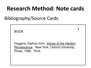 Research Method: Note cards