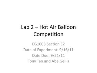 Lab 2 – Hot Air Balloon Competition